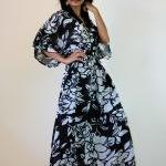 Black White Kimono Dress Wo..