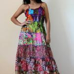 Patchwork Maxi dress Spaghe..