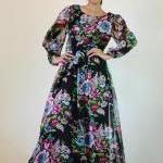 Black Chiffon Dress Long Ma..
