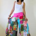 Wide Leg Pants Boho Patchwo..