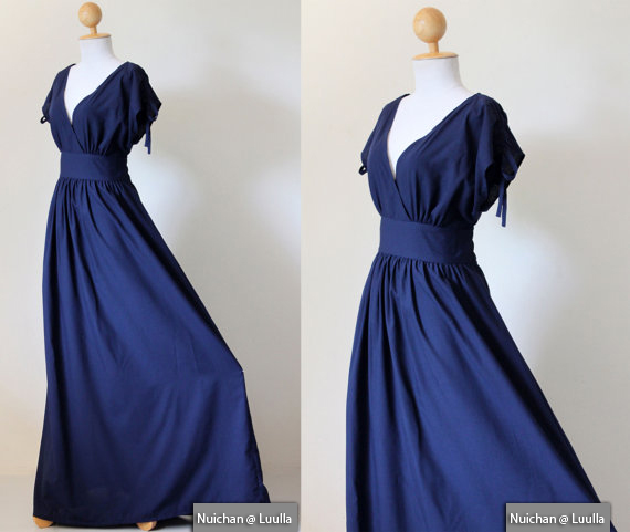 Navy Blue Maxi Dress - Sleeveless or Short Sleeve Cotton Evening Dress : Classy Gorgeous Collection