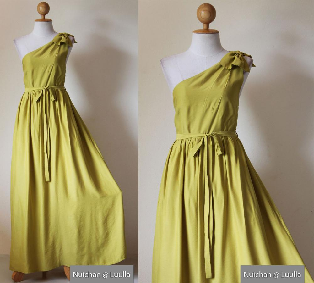 One Shoulder Dress - Bridesmaid Dress Long Evening Gown Green Yellow Maxi Dress : Prom Queen Collection