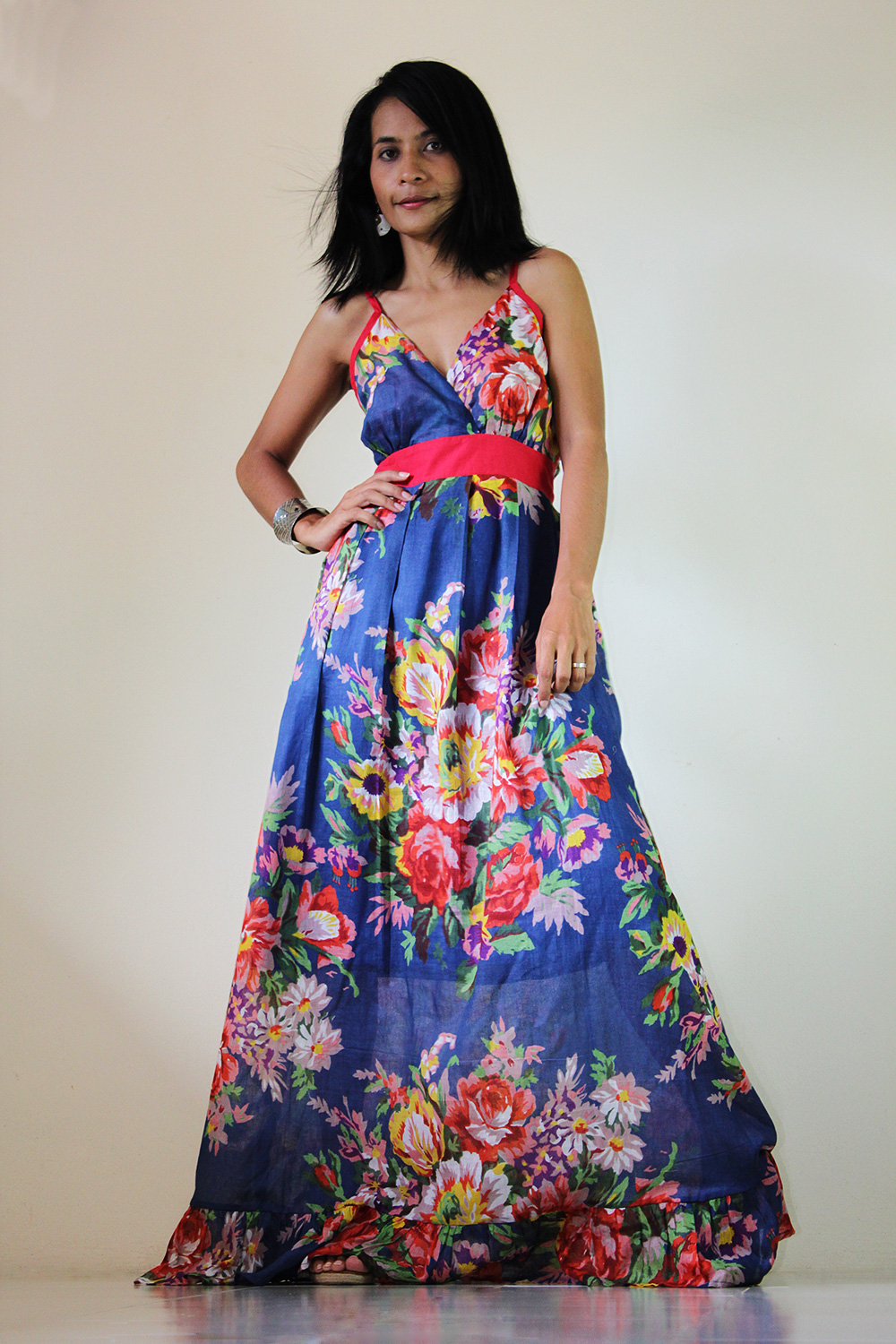 Floral Maxi Dress Blue Summer Cotton Cute V Neck : Sweetie Vintage ...