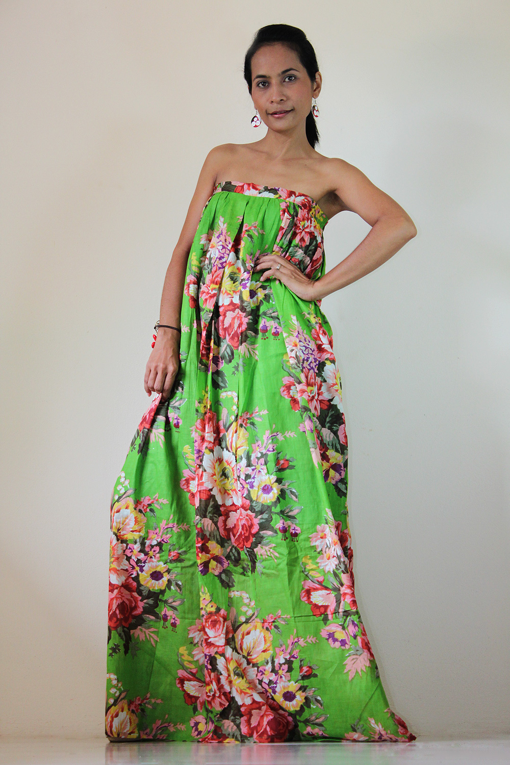 Green Maxi Dress Floral Party Bridesmaid Stylish Tube Halter Spring Summer Gown : Flower Blossom Collection