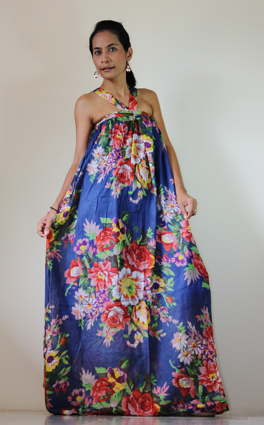 Floral Maxi Dress Party Bridesmaid Stylish Blue Tube Halter Spring Summer Gown : Flower Blossom Collection