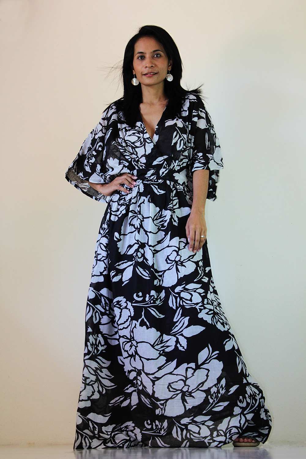 Black White Kimono Dress Women Kaftan Maxi Dress : Boho Kimono Collection