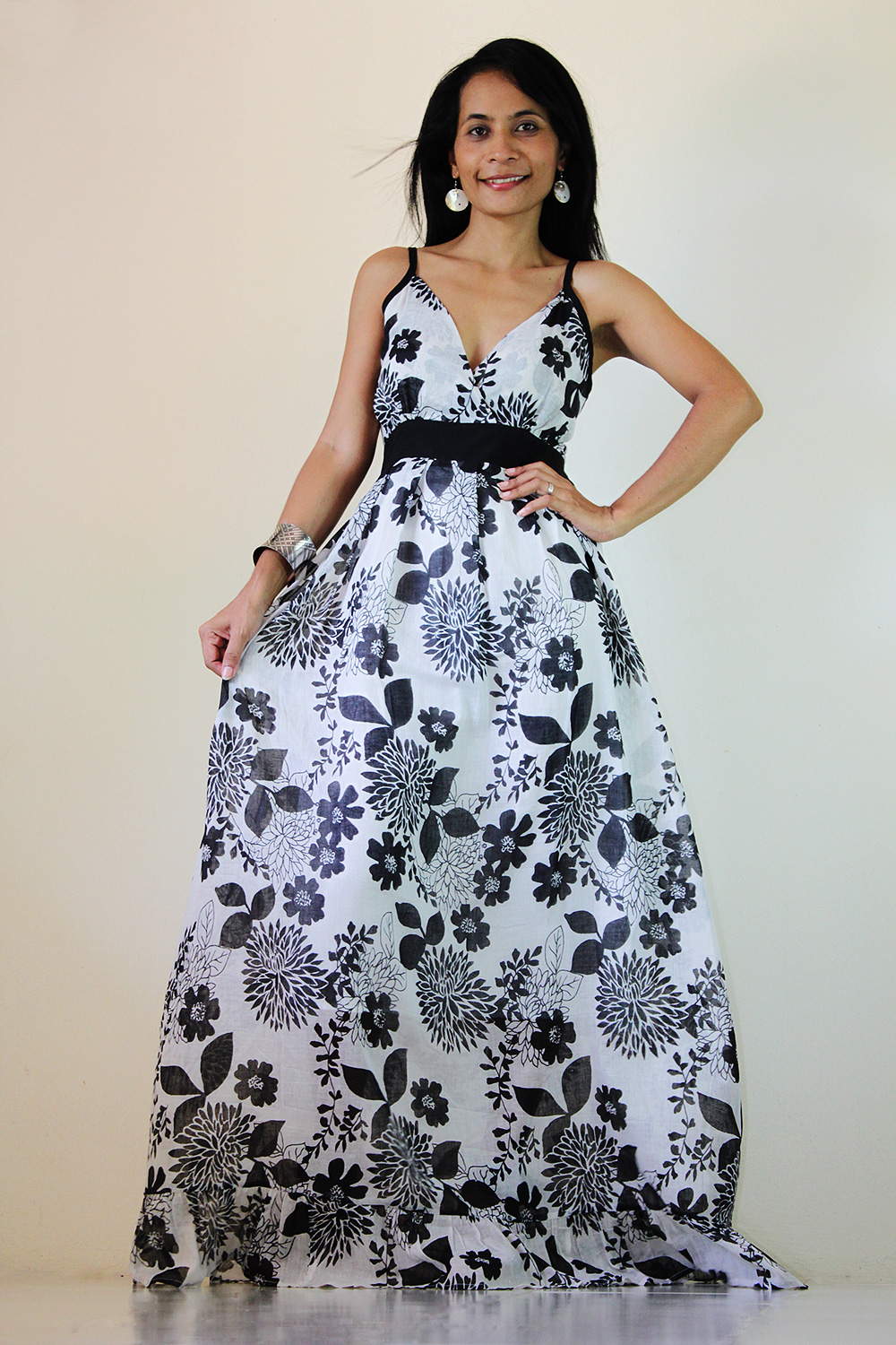 Floral Maxi Dress Black And White Summer Cotton Cute V Neck ...