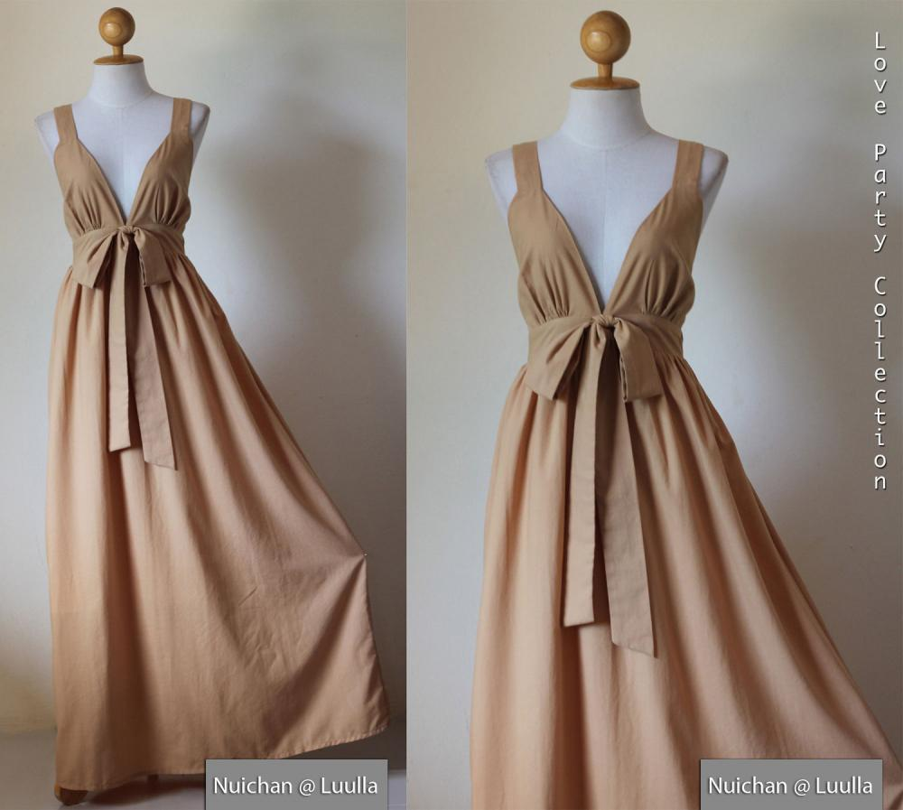 Light brown bridesmaid maxi dress elegant cocktail for Brown dresses for wedding