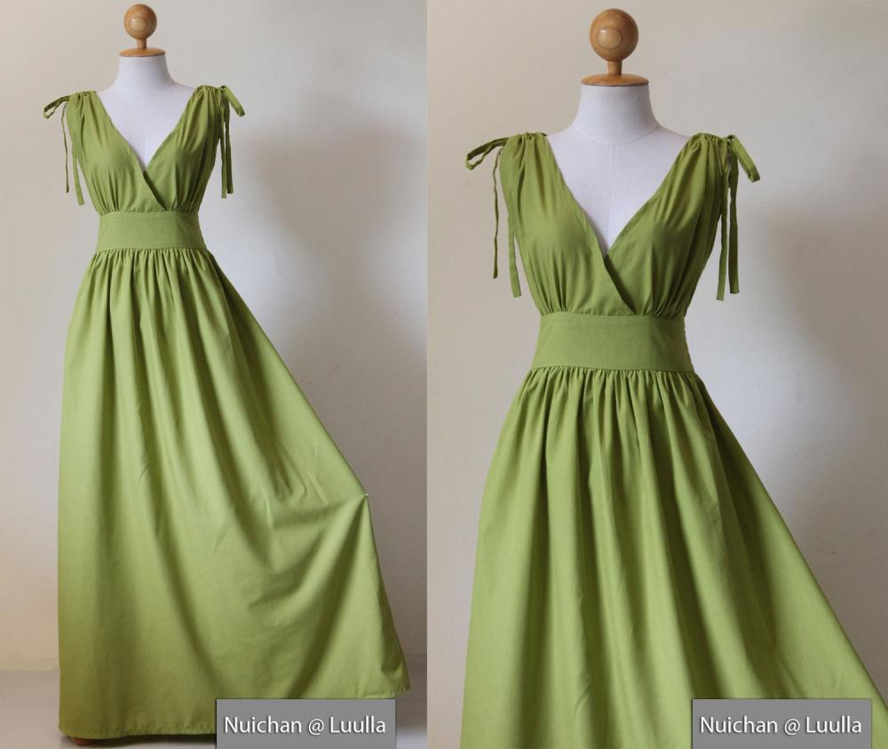 Green Maxi Dress - Sleeveless Or Short Sleeve Cotton Evening Dress ...