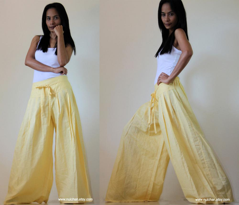 Light Yellow Wide Leg Pants Cotton Linen Casual Wear : Soul Of The ...