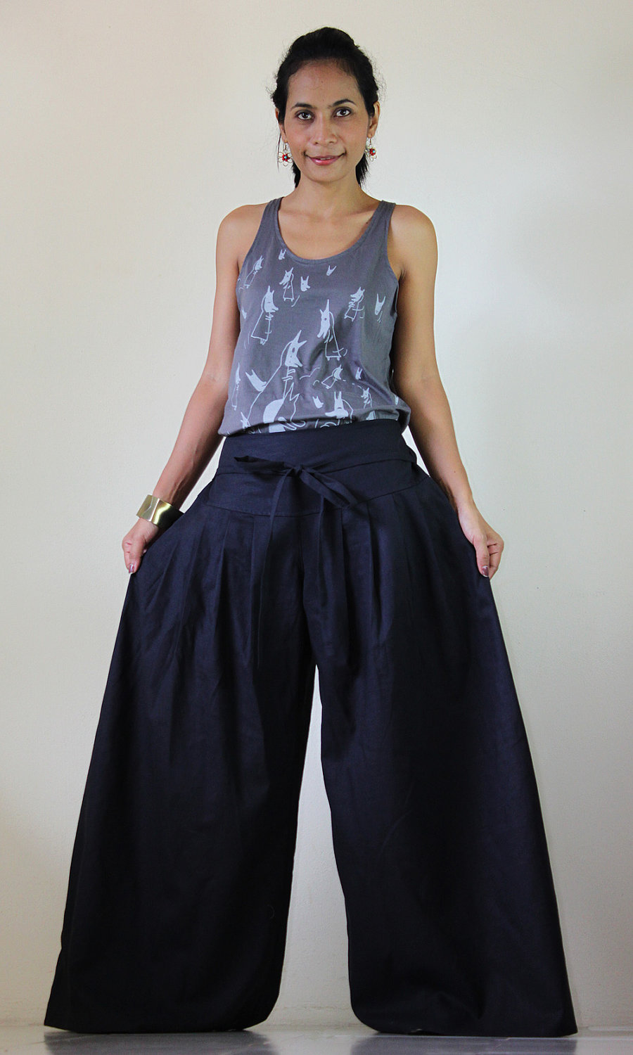 Anthracite Grey Pants - Wide Leg Pants Cotton Linen Casual Wear ...