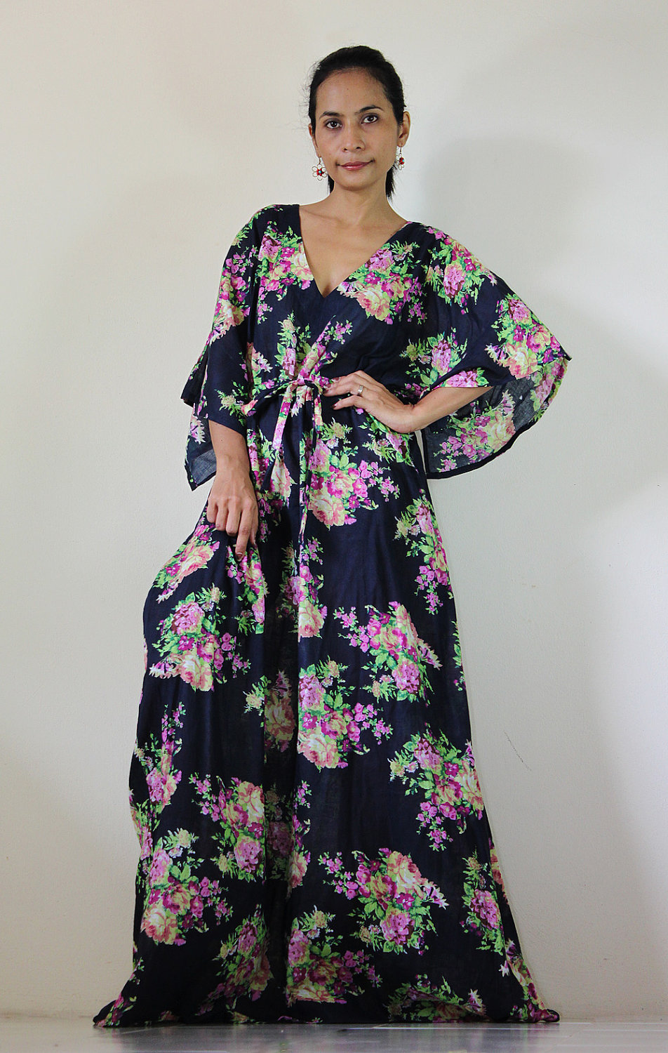 Kaftan Long Maxi Dress Boho with lovely flower print : Bohemian Kaftan Collection