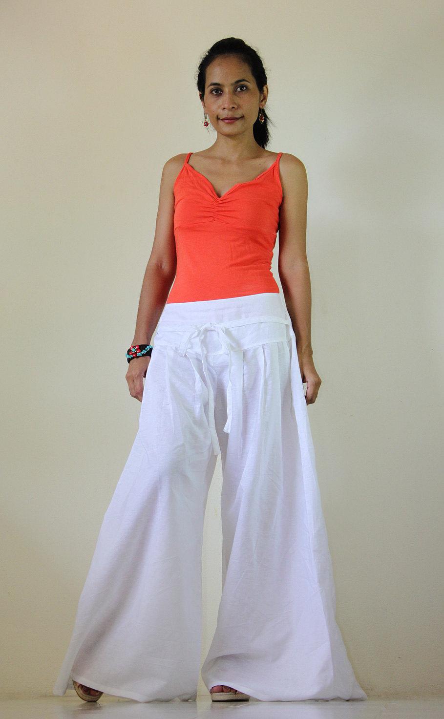 White Pants - Wide Leg Pants Cotton Linen Casual Wear : Soul Of ...