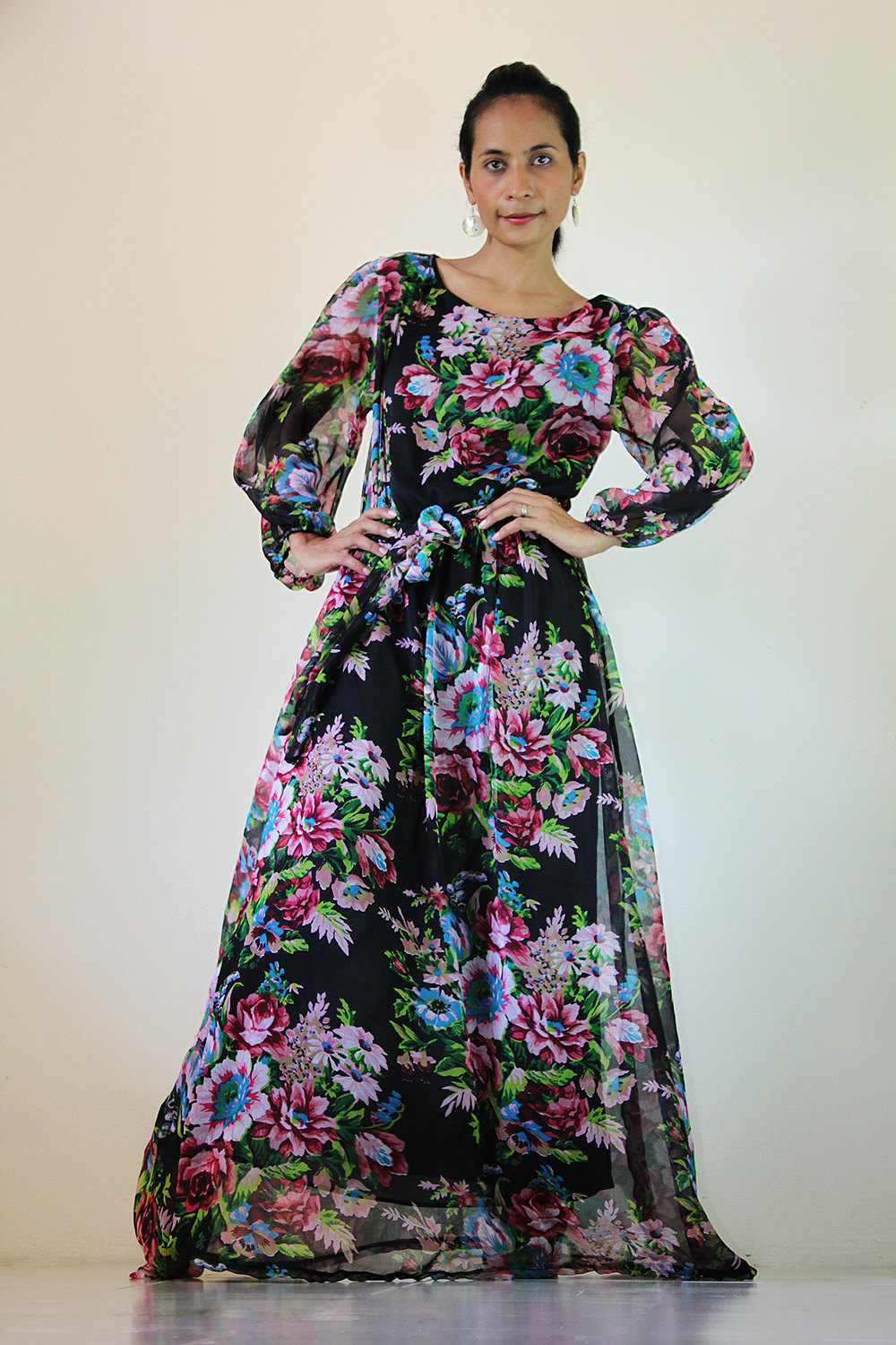 Black Chiffon Dress Long Maxi Dress Flower Print : Smooth as Silk Collection IV