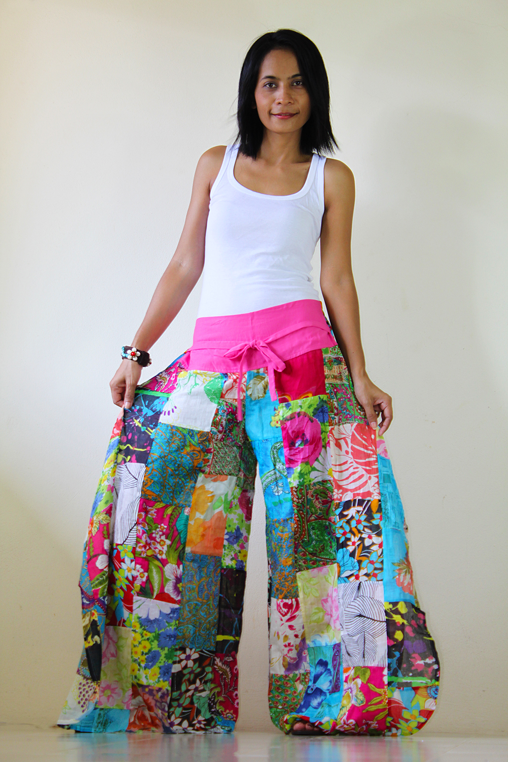 Wide Leg Pants Boho Patchwork