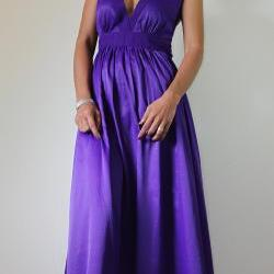 Purple Maxi Dress Classy Elegant Deep V-Shape Sleeveless Gray Formal Long Evening Gown: Keerati My Endless Love Collection